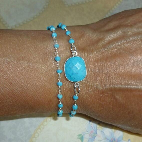 Turquoise Blue Gemstone Double Wrap Rosary Chain Tassel Bracelet