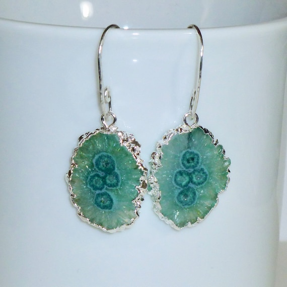 Green Solar Quartz Earrings with Artisan Handcrafted Argentium Silver Ear Wires