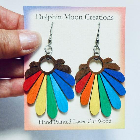 Hand Painted Laser Cut Wooden Rainbow Fan Earrings