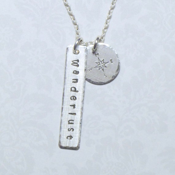Wanderlust Compass Hand Stamped Sterling Silver Charm Necklace