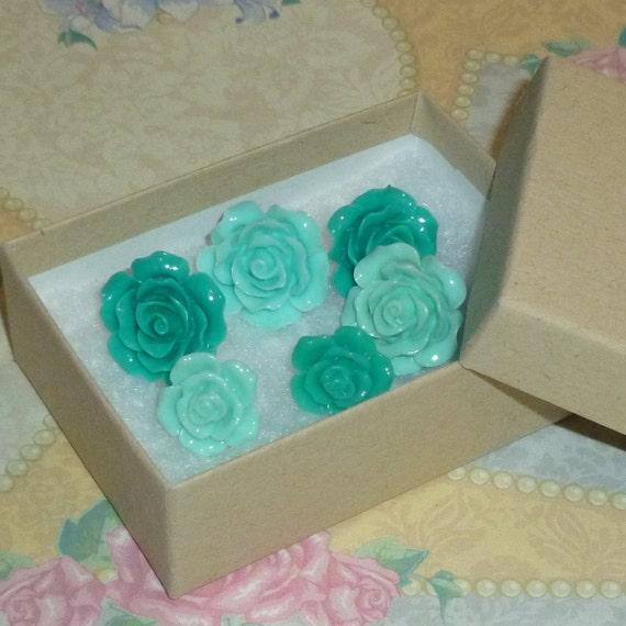 Mint Green Decorative Resin Rose Flower Cabochon Push Pin Thumb Tacks - Set of 6