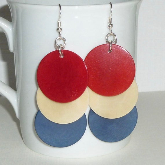 Red White and Blue Tagua Nut Sterling Silver Statement Earrings