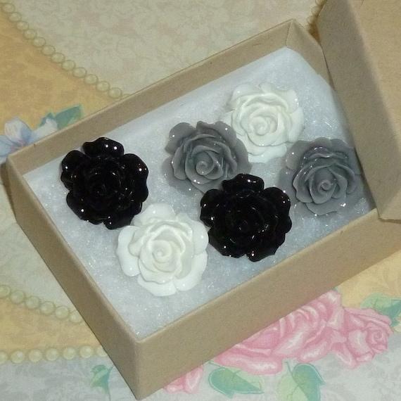 Black White Gray Rose Decorative Resin Rose Flower Cabochon  Push Pin Thumb Tacks - Set of 6
