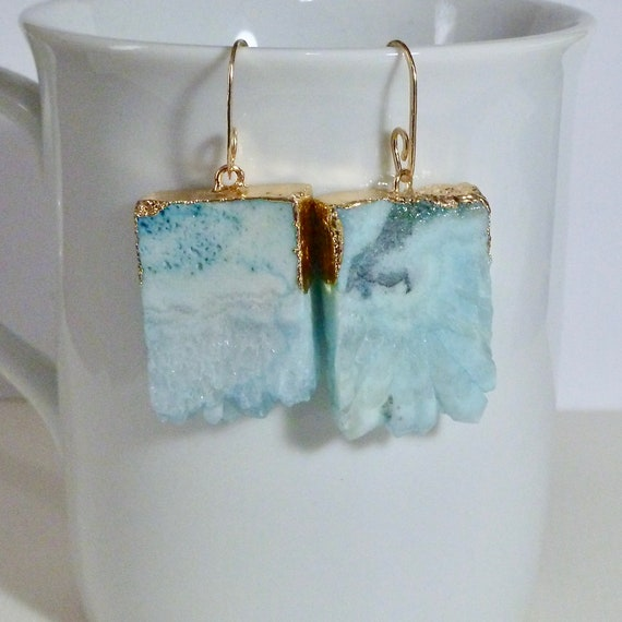 Pale Aqua Blue Agate Druzy Crystal Slice Earrings with Artisan Handcrafted Gold Fill Ear Wires