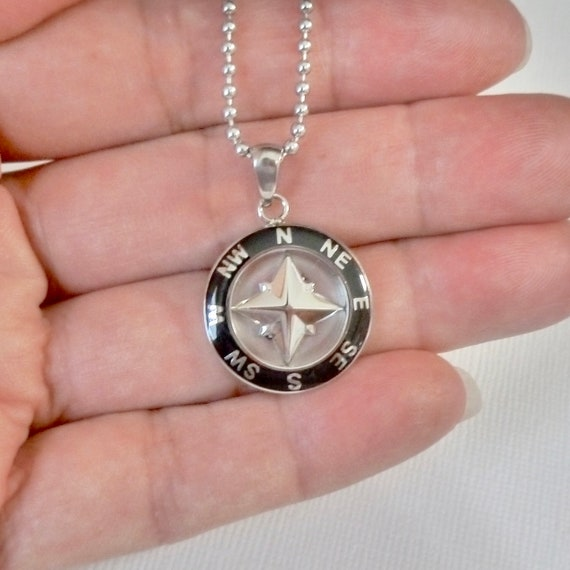 Mens Black Enameled Stainless Steel Nautical Compass Rose Pendant Necklace
