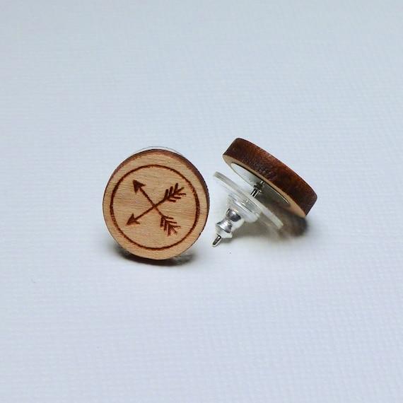 Crossed Arrow Stud Earrings - Natural Laser Cut Wooden Friendship Jewelry