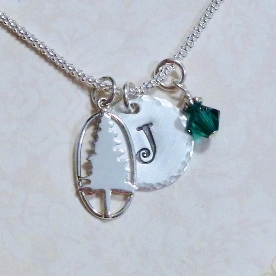 Personalized Pine Tree Hand Stamped Sterling Silver Initial Charm Necklace