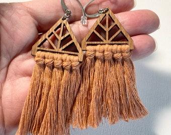 Terracotta Geometric Triangle Macrame Fringe Earrings