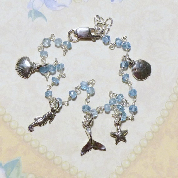 Ocean Themed Wire Wrapped Sterling Silver Blue Topaz Gemstone Rosary Chain Anklet with Sterling Silver Ocean Charms