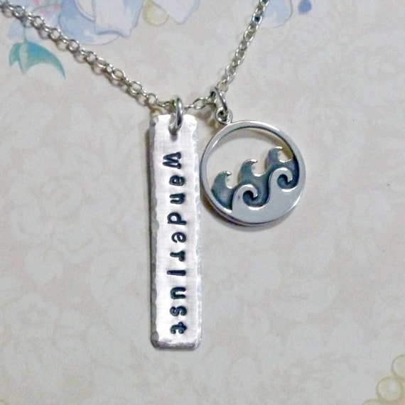 Wanderlust Ocean Wave Hand Stamped Sterling Silver Charm Necklace