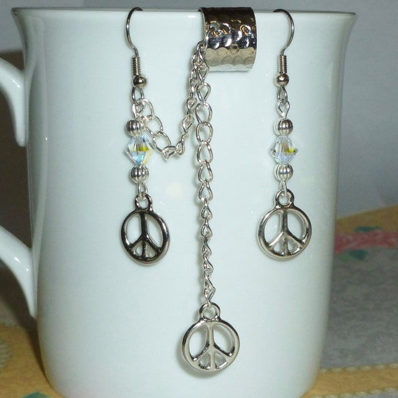 Silver Plated Pewter Peace Sign Earring and Ear Cuff Set with Chain