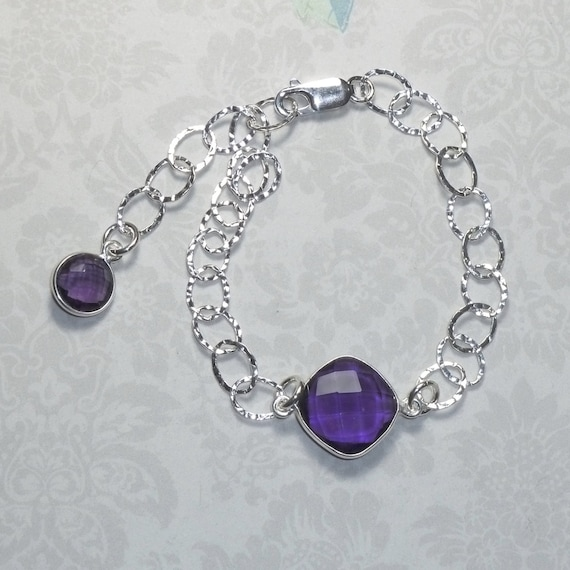 Amethyst Hydro Gemstone and Sterling Silver Hammered Cable Link Bracelet with matching Dangle