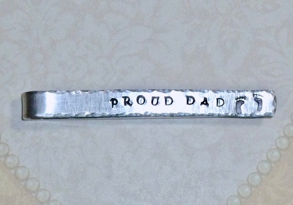 Proud Dad Mens Hand Stamped Aluminum Tie Bar with Baby Feet