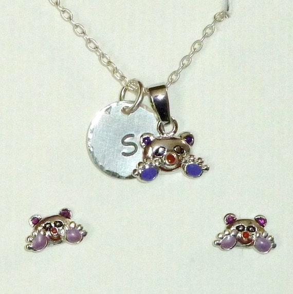 "Personalized Enameled Panda Bear Hand Stamped Sterling Silver Petite 1/2"" Initial Charm Necklace and Earring Jewelry Set"
