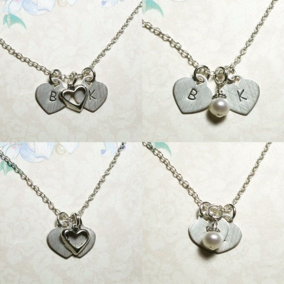 Couples Hand Stamped Sterling Silver Two Initial Hearts Necklace