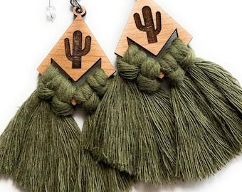 Wood Cactus Macrame Fringe Earrings