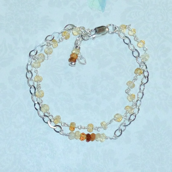 Double Strand Ombre Shaded Citrine and Sterling Silver Gemstone Bracelet