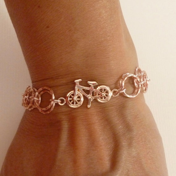 Rose Gold Color Bicycle Chainmaille Charm Bracelet