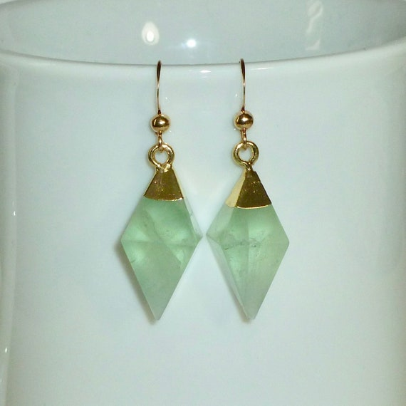 Fluorite Gemstone Diamond Shaped Earrings