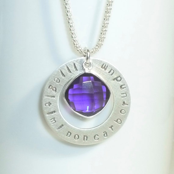 Illegitimi Non Carborundum Latin Phrase Don't Let The Bastards Grind You Down Hand Stamped Sterling Necklace with Hydro Amethyst Quartz