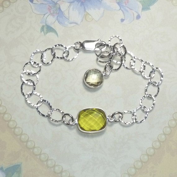 Lemon Yellow Topaz Gemstone Sterling Silver Hammered Cable Link Bracelet