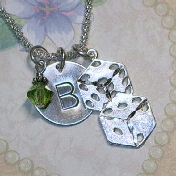 Lucky Gambling Dice Hand Stamped Sterling Silver Initial Charm Necklace