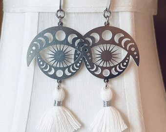 Celestial Sun Burst and Moon Phase Etched Stainless Steel Tassel Earrings