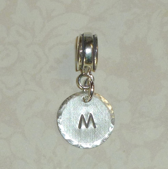 Personalized Hand Stamped Sterling Silver Large Hole Initial Charm Dangle Bead fits European Style Charm Bracelets and Necklaces