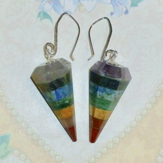 Rainbow 7 Chakra Gemstone Point Pendulum Earrings