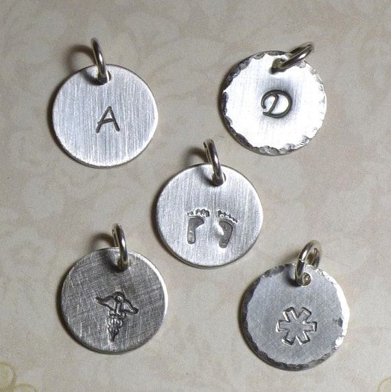 "Add a Charm Petite 1/2"" Circle Charm Hand Stamped Sterling Silver Initial or Art Stamp Charm"