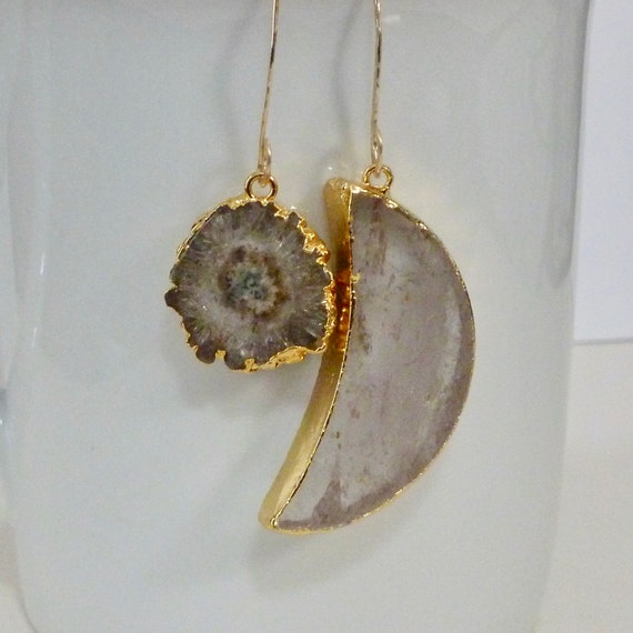 Mismatched Crystal Quartz Celestial Crescent Moon and Brown Solar Druzy Earrings