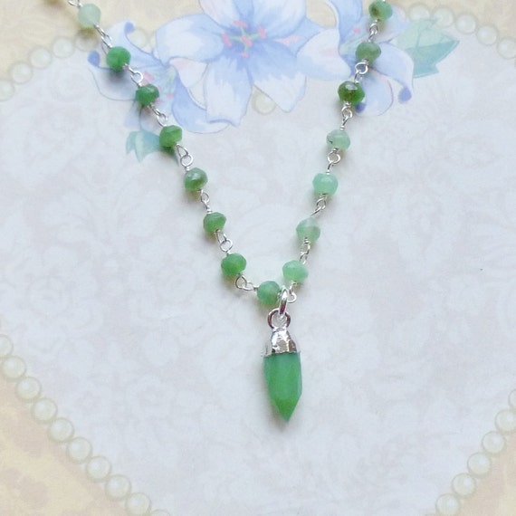 Chrysoprase Gemstone Spike Sterling Silver Rosary Chain Necklace