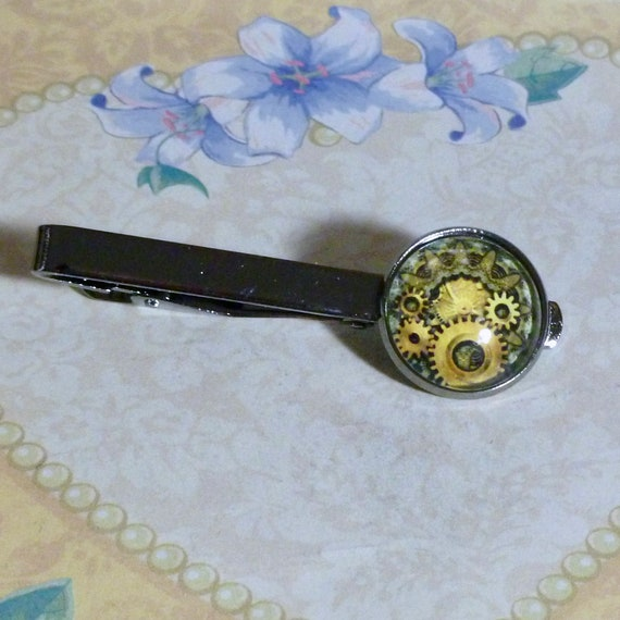 Steampunk Gears Gunmetal Tie Bar