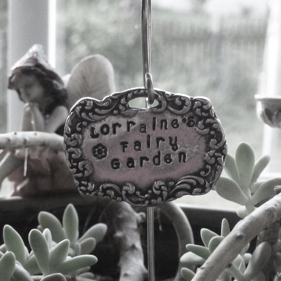 Personalized Miniature Pewter Vintage Style Fairy Garden Sign