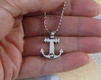 Anchor Necklace - Mens Stainless Steel Anchor Pendant Necklace - Mens Anchor Jewelry