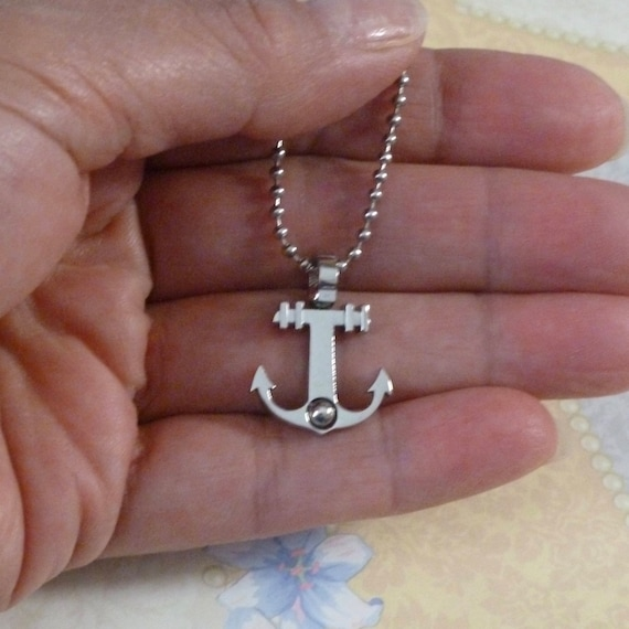 Mens Nautical Stainless Steel Anchor Pendant Necklace