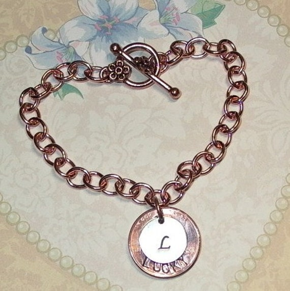 Personalized Penny Initial Hand Stamped Mixed Metal Copper and Sterling Silver Bracelet