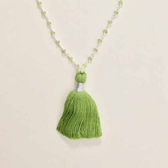 Peridot Gemstone Sterling Silver Rosary Chain Tassel Necklace