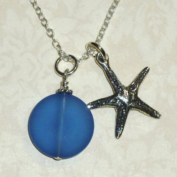 Starfish Sterling Silver Charm Necklace with Recycled Sea Glass Dangle
