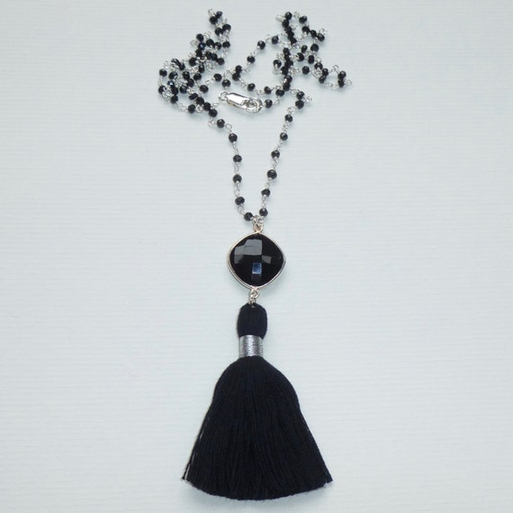 Black Gemstone Tassel Necklace, Onyx Gemstone Black Spinel Sterling Silver Rosary Chain Tassel Necklace