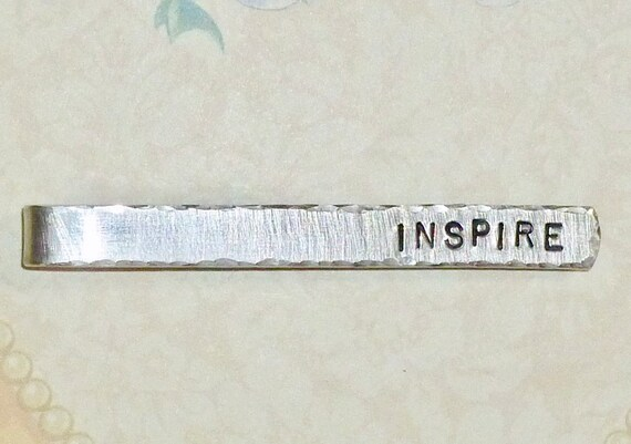 Inspire Mens Teacher Hand Stamped Aluminum Tie Bar