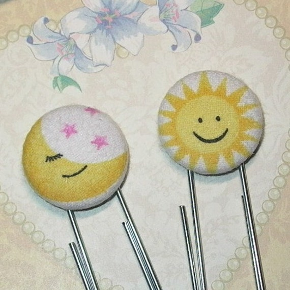 Sun and Moon Fabric Covered Button Planner Paper Clips or Bookmark Set of 2