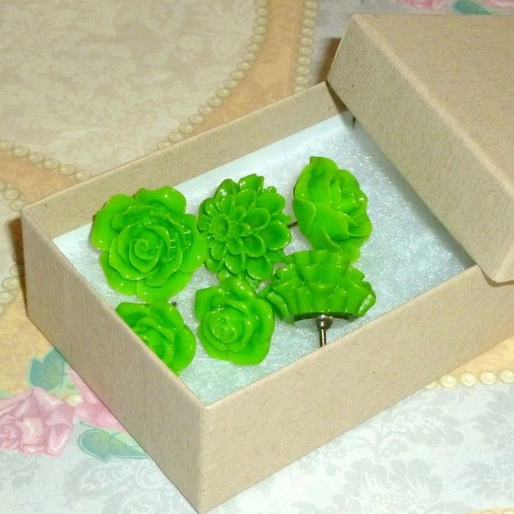 Lime Green Decorative Resin Rose Flower Cabochon Push Pin Thumb Tacks - Set of 6