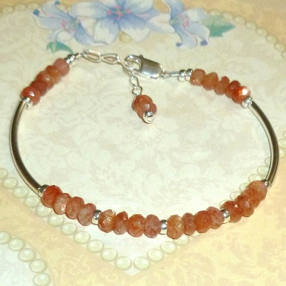 Madagascar Sunstone Rondelle Sterling Silver Adjustable Curved Tube Bracelet