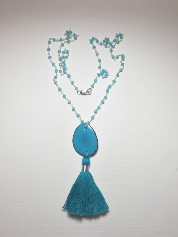 Aqua Chalcedony and Tagua Nut Slice Sterling Silver Rosary Chain Tassel Necklace