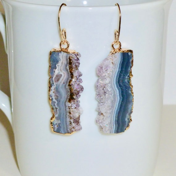 Amethyst Slice Earrings with Artisan Handcrafted Gold Fill Ear Wires