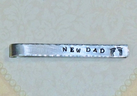 New Dad Mens Hand Stamped Aluminum Tie Bar Tie Clip with Baby Feet