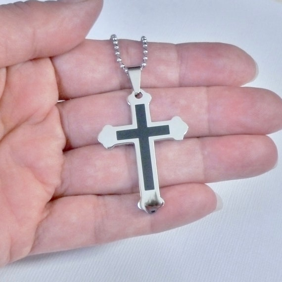 Mens Black Enameled Stainless Steel Gothic Cross Pendant Necklace