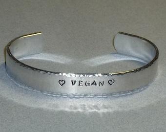 Vegan Love Hand Stamped Aluminum Cuff Bracelet - Vegan Cuff Bracelet - Vegan Jewelry - Vegan Gift