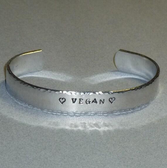 Vegan Love Hand Stamped Aluminum Cuff Bracelet
